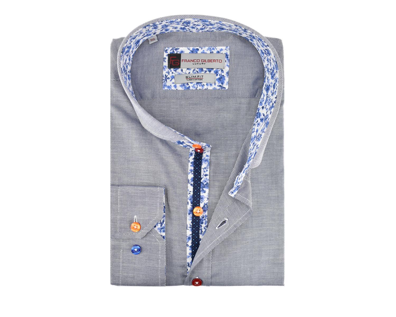 7684932f2f6 SL 5298 Сине-серая рубашка с цветными вставками - Рубашки на все ...
