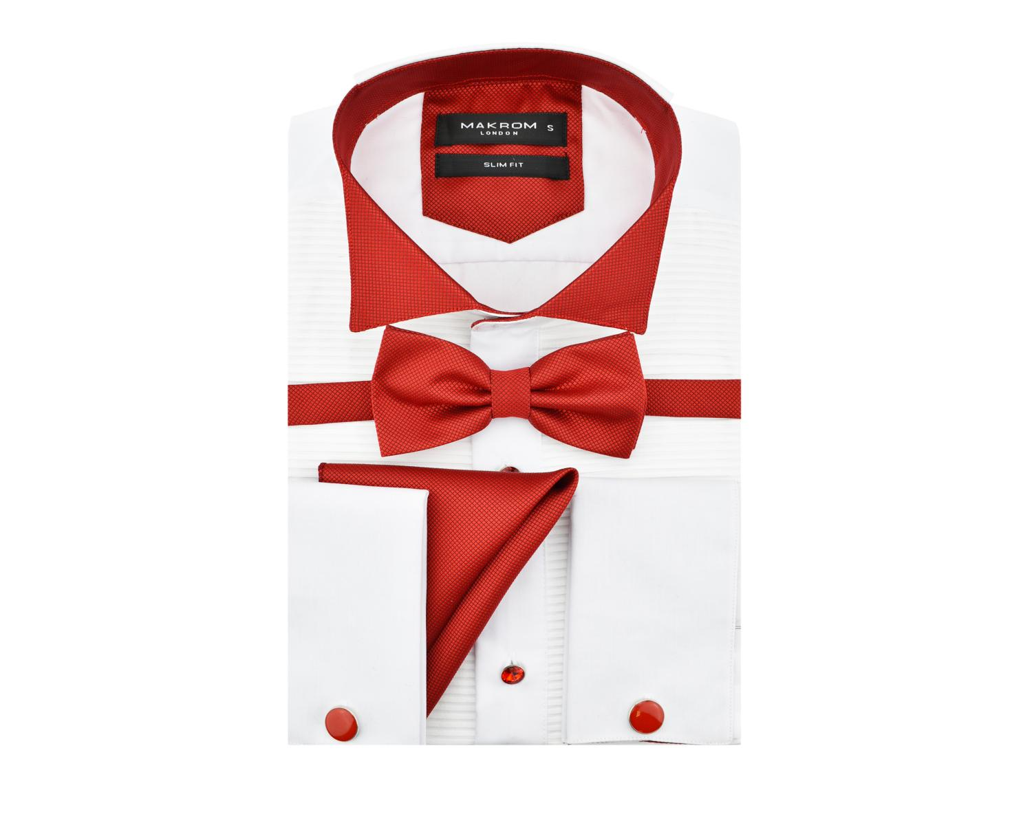 Sl 6328 Mens White Pliss Wing Collar Smoking Shirt With Double
