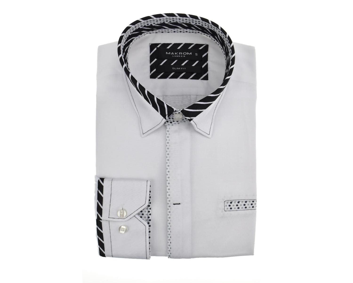 81617247d62 ... SL 5667 Men's white striped and polka dot trim shirt with pocket Men's  shirts