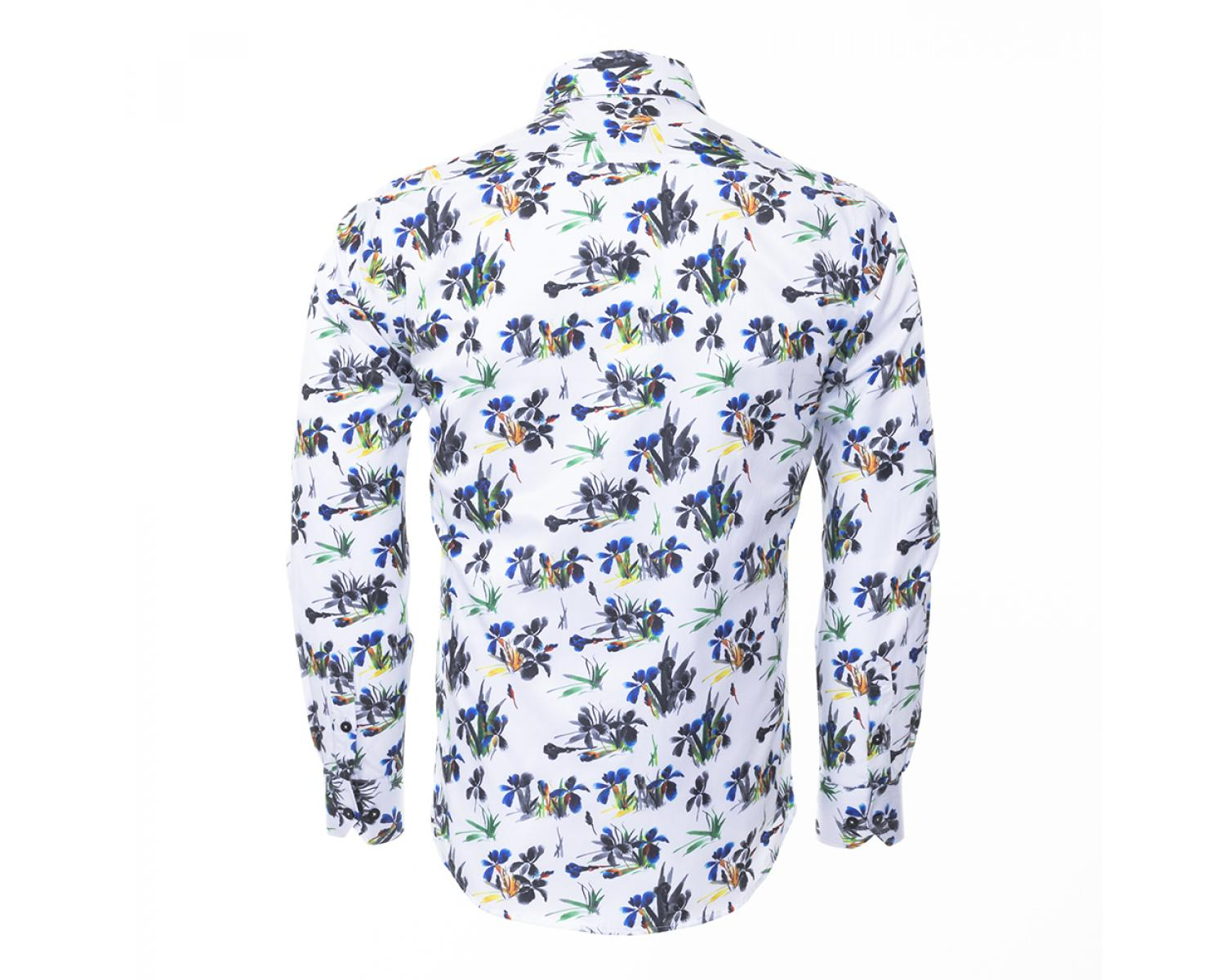 79561679210257 SL 6404 Men's white & blue floral print shirt - Quality Designed Shirts