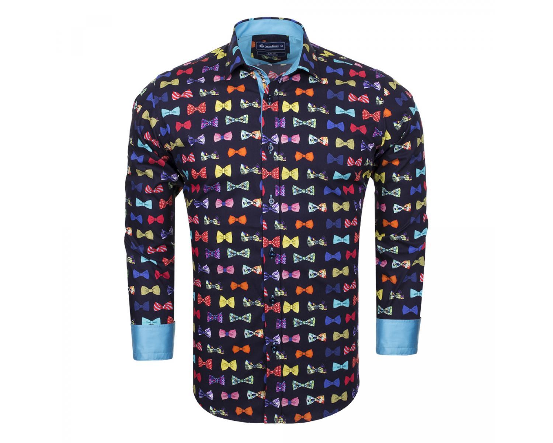 7ba281df742 SL 6532 Темно-синяя рубашка с принтом цветных бантиков-бабочек Мужские  рубашки