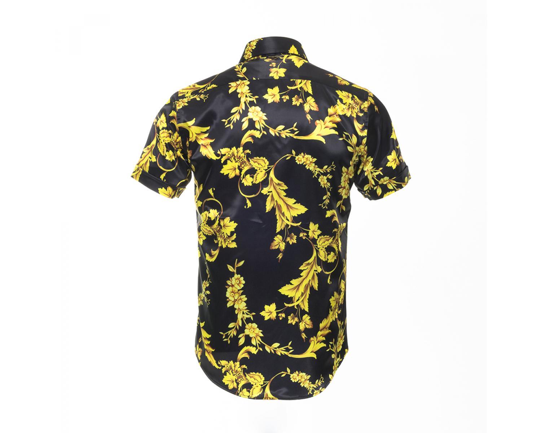 328ce42413676 SS 6392 Men s black   yellow floral signature print satin shirt Men s shirts