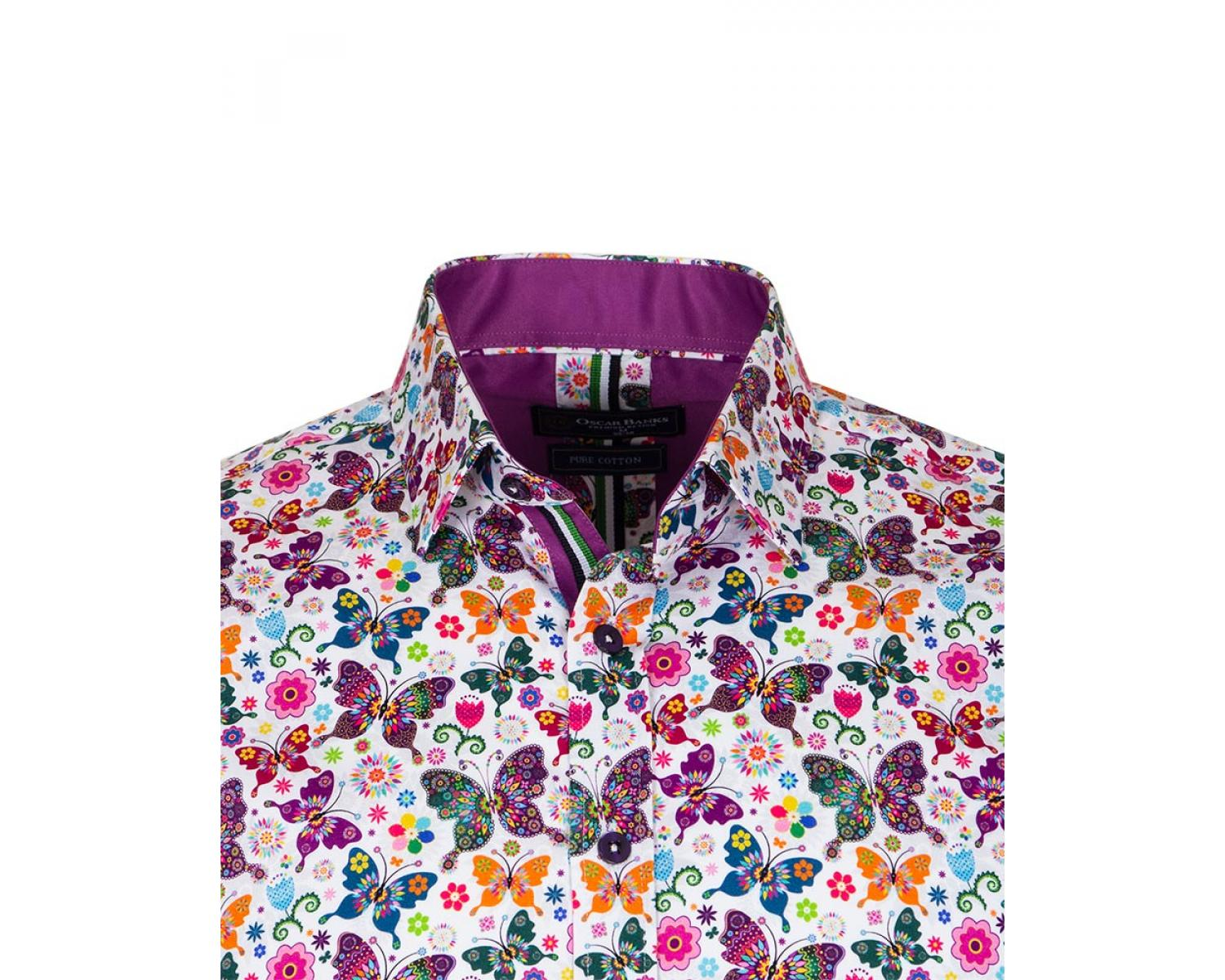 6bad0024c13 SL 6707 Men's white butterfly print long sleeved pure cotton shirt ...