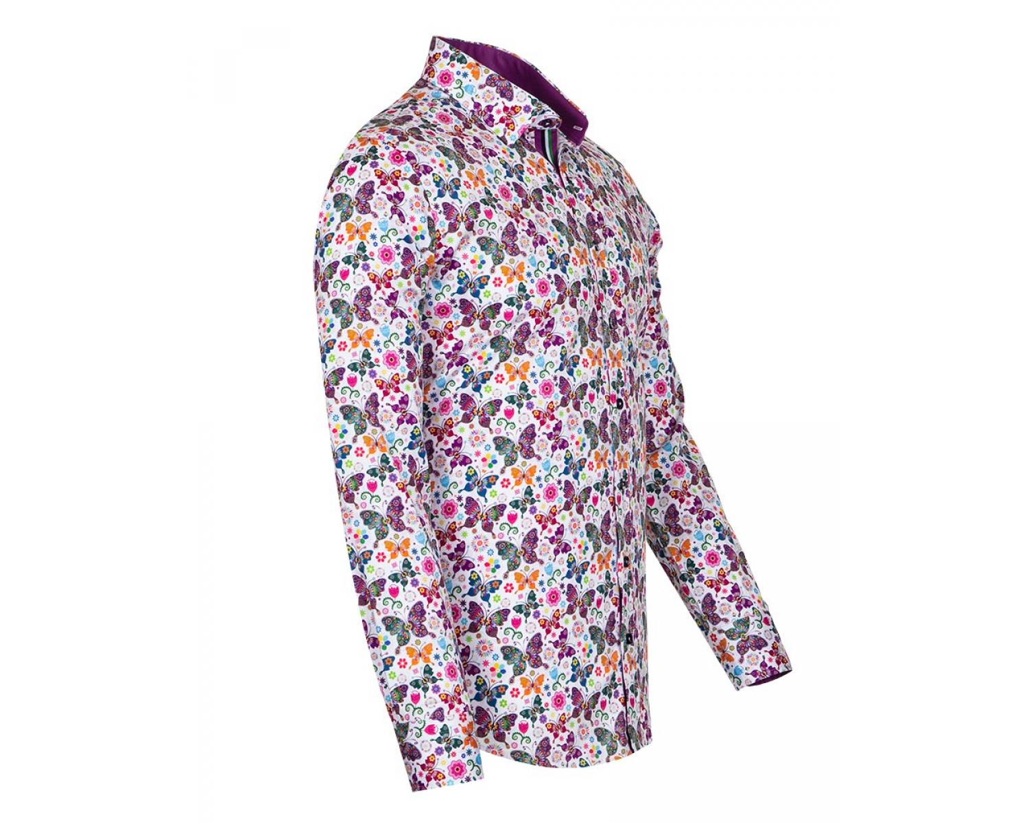 5cffd06f799 SL 6707 Men's white butterfly print long sleeved pure cotton shirt