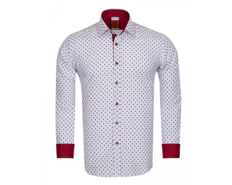 fb87b1575fffb21 ... Белая рубашка с узором в горошек и длинным рукавом SL 6684 Мужские  рубашки ...