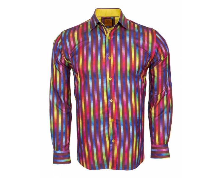 f14373be SL 6247 Men's multicolor striped long sleeved shirt Men's shirts