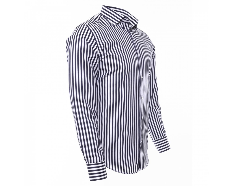 c68bac4c80 SL 6487 Men's dark blue & white striped long sleeved shirt - Quality ...