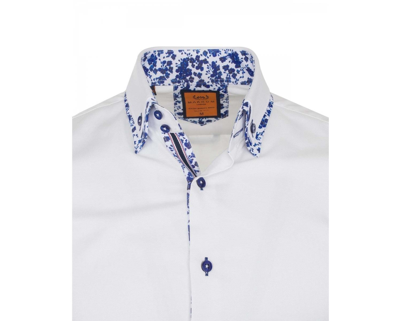 7f2940391f455d9 SL 6498 Белая рубашка с двойным воротником и цветочным узором Мужские  рубашки